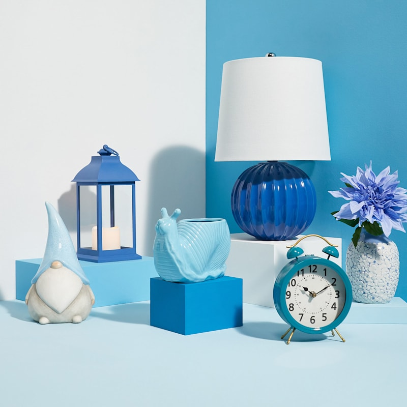 """Grace Mitchell Blue Ribbed Ceramic Accent Lamp, 13"""""""