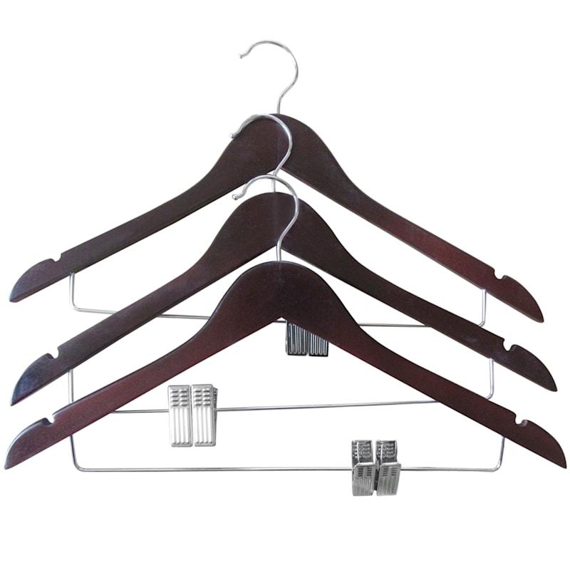Wood Espresso 3-Piece Dress Hanger