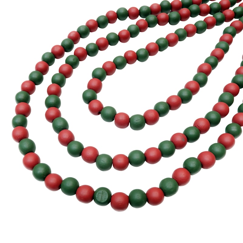 Deep Red & Green Wood Bead Garland, 12'