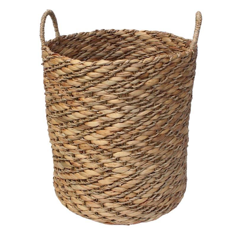 Natural Zig Zag Woven Round Basket