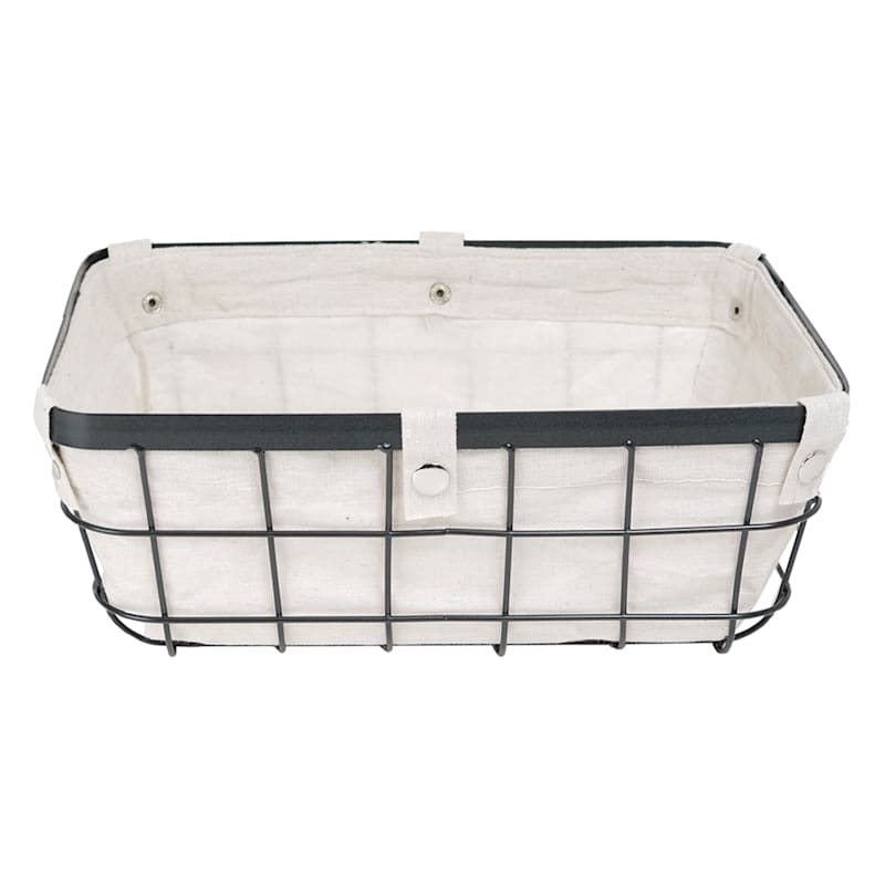 Wire Bin with Canvas Liner, Large