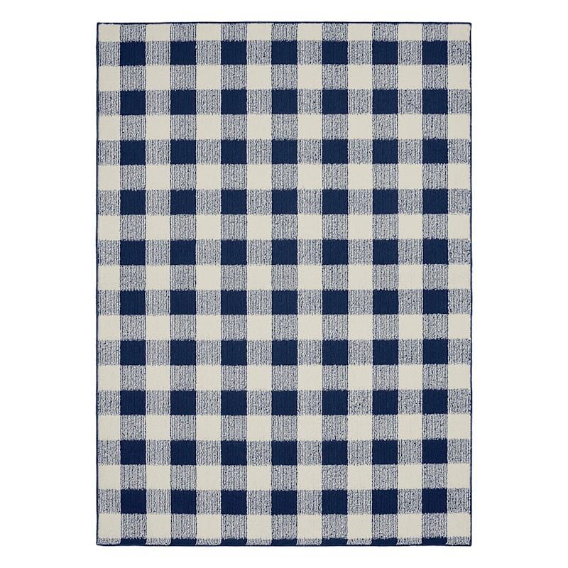 E313 Checkmate Navy & Ivory Plaid Indoor & Outdoor Area Rug, 5x7