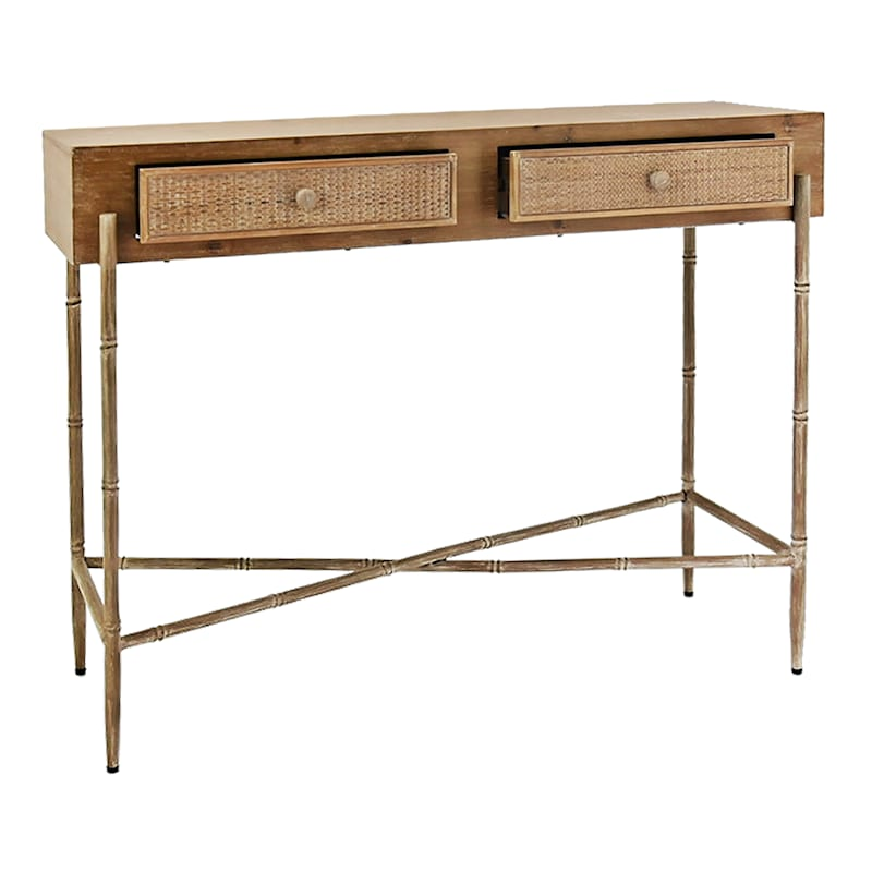 Wood/Rattan Console Table
