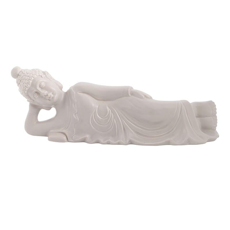 15.5X5In Grey Sleeping Buddha
