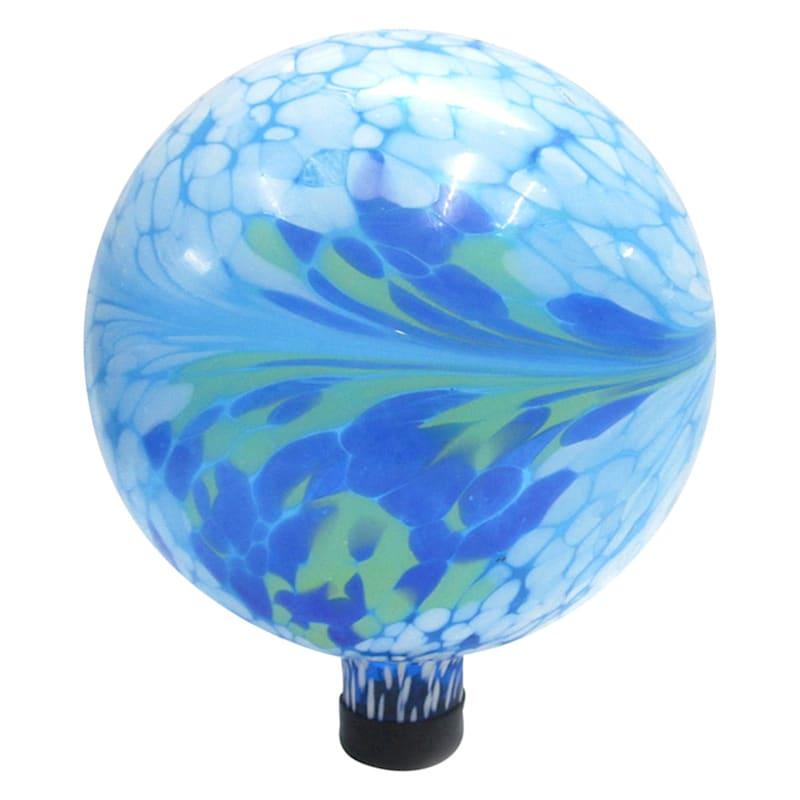 10in. Glass Ocean Blue/Green Mix Swirl Gazing Ball/Rubber Cap