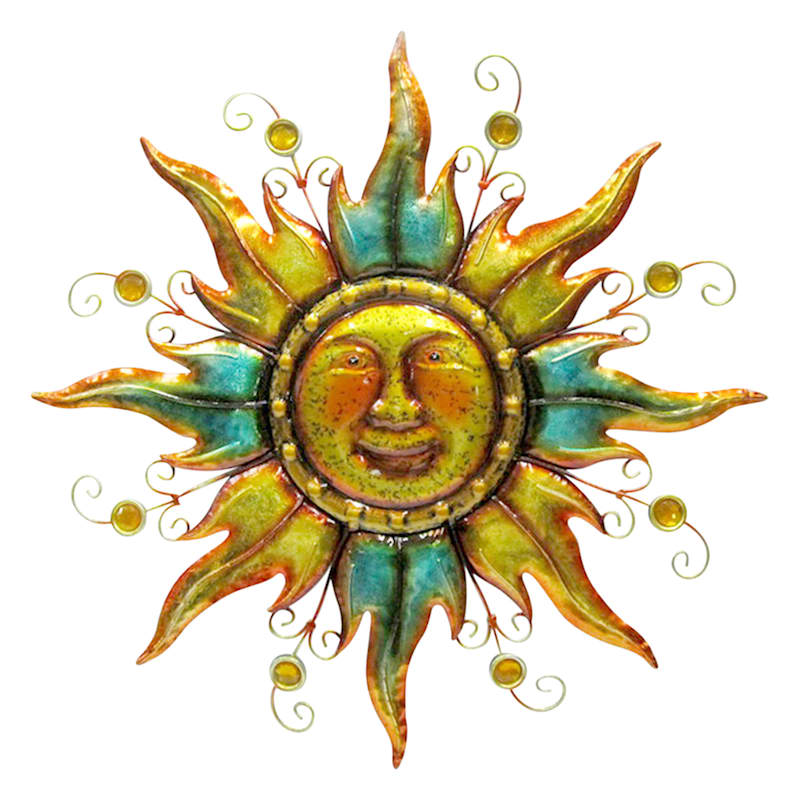 Metal Sunface Wall Plaque/Acrylic Jewels On Rays